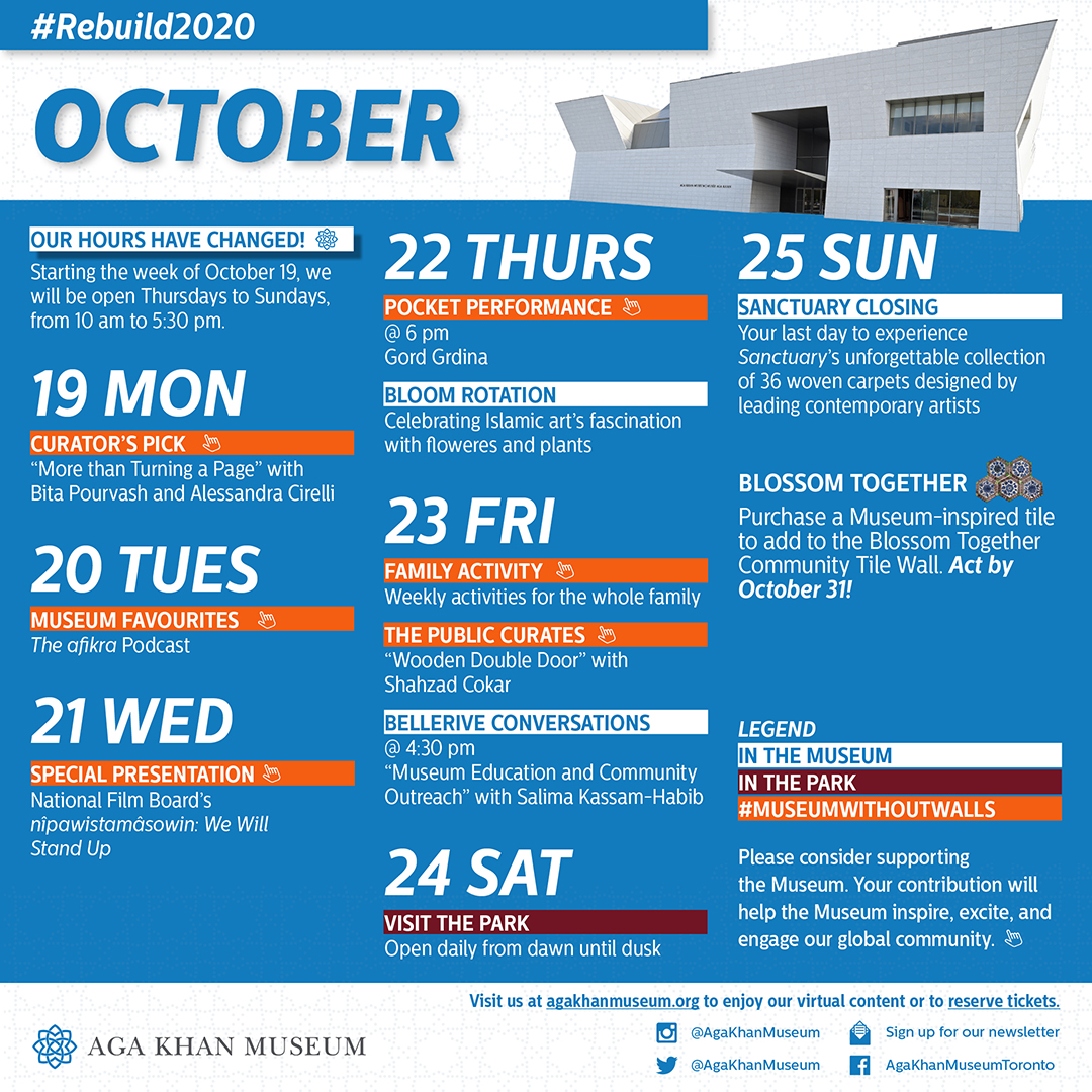 A calendar of #MuseumWithoutWalls programming and events for the week of October 19, 2020.